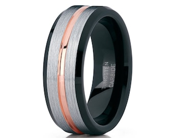 Men's Tungsten Wedding Band,Rose Gold Ring,Tungsten Carbide Ring,Men & Women,Brush Wedding Band,18k Rose Gold