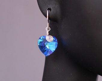 Wire-wrapped Blue Crystal earrings G443