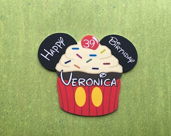 Disney Cruise Door Magnet - Mickey Mouse Magnet - Birthday Magnet - Happy Birthday Magnet - Mickey Magnet - Cupcake Magnet - Mickey Cupcake