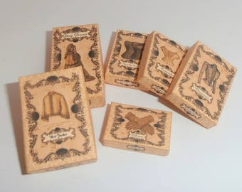 Dollhouse Miniature Download - 6 vintage style clothing boxes