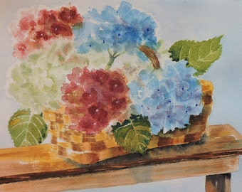 Hydrangeas in a Basket- Fine Art-Watercolor Painting of a Bouquets of Flowers in a Wicker Basket