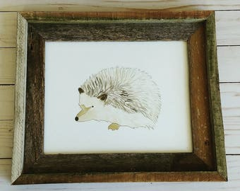 Hedgehog, Woodland Animals Art, 8x10 Art Print, Watercolor Painting, Nursery, Baby Animals, Fox, Moose, Bear, Pine Trees, Framable Art