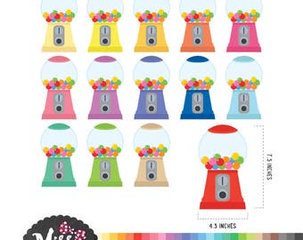 30 Colors Gumball Machine Clipart - Instant Download