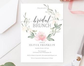 Bridal Shower Invitation -  Bridal Brunch Invite - Pastel Blush - Editable Printable Invite - Bridal Shower Invites - Instant Download