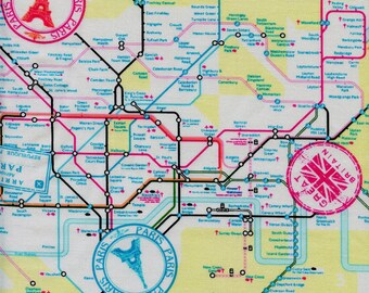 City Maps Timeless Treasures Cotton Fabric Fun C4771 White, By the Yard