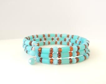 Aqua Blue Memory Wire Bracelet, Memory Wire Bracelets, Wrap Bracelet,  Fashion Jewelry, Accessories, Gift Idea, Beaded Bracelet. Item 158