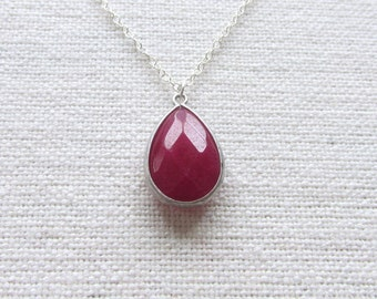Ruby Red Glass Necklace, Sterling Silver, Modern Jewelry