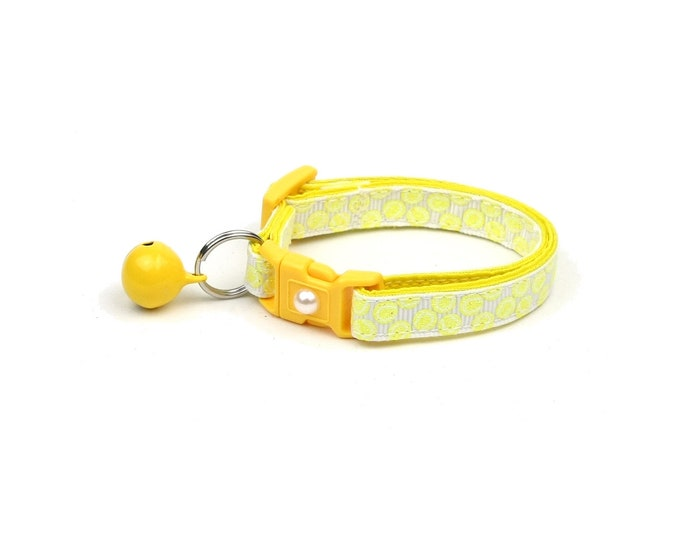 Tennis Cat Collar - Tennis Balls on White - Small Cat / Kitten Size or Large Size
