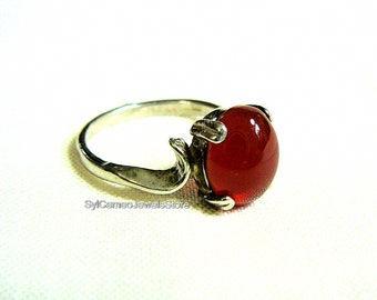 Red Carnelian Midi Sterling Silver Ring Jewelry SylCameoJewelsStore