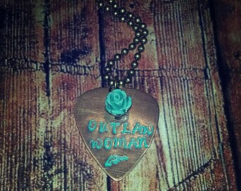 Hand Stamped Antique Bronze Charm Guitar Pick Necklace- Outlaw Woman