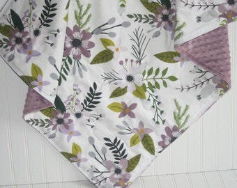 baby girl quilt- lavender baby quilt- floral baby quilt -floral baby blanket-minky baby quilt- baby bedding -crib bedding- purple baby quilt