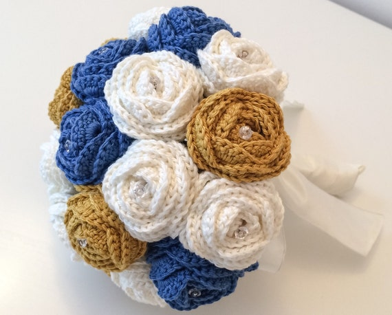 Items Similar To Blue Wedding Bouquet Fabric Flower Bouquet