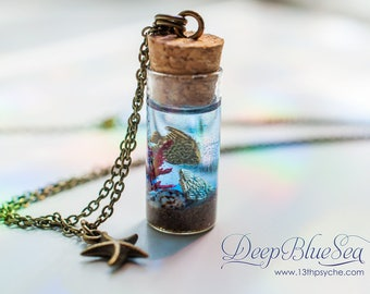 Ocean Bottle necklace ,fish necklace, beach necklace, ocean in a bottle, mermaid jewelry, ocean jewelry, Inspirational Gift for women
