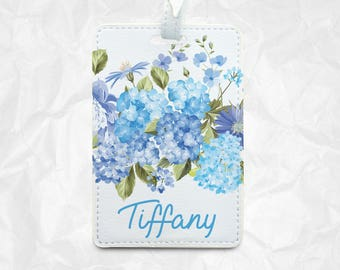 Flower luggage tag, bag tag, with personal name
