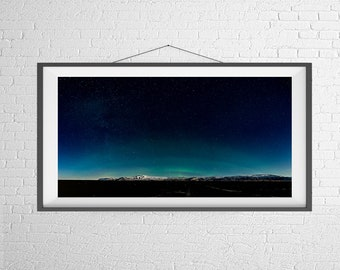 Fine Art Photography Print - Travel, Landscape, Nature, Panorama - Aurora Over the Mountains - Iceland