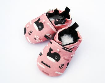 Organic Knits Whales in Pink / All Fabric Soft Sole Baby Shoes / Made to Order/ Babies