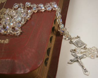 Catholic Rosary, Silver Rosary, Clear Crystal Rosary, Made in  Italy, Silver Crucifix, Blessed Mother, 1950's