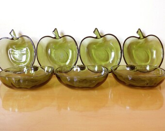 Vintage 60s Green Glass Apple Bowls/Apple Dishes- Made by Hazel Atlas Glassware Co. Set of 7 Bowls- Perfect for Fall/Autumn Treats & Salads!