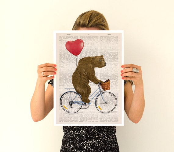 Bear art, Grizzly bear riding a bike poster, Nursery Wall decor, Wall art, Funny poster, Giclee poster, Gifts, Wholesale, Poster, ANI222PA3