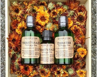 Facial Serum, organic facial oil, face moisturizer, skin cream, essential oil wrinkle cream, oil cleansing, Thirsty Face or Thirstier