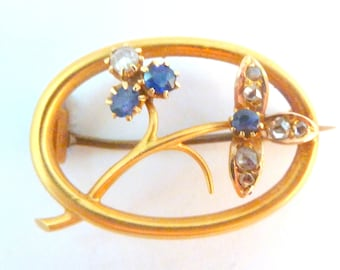 Antique Brooch, 15K Gold Brooch, Sapphire And Diamond Brooch, Floral Design Brooch Complete With Original Box.