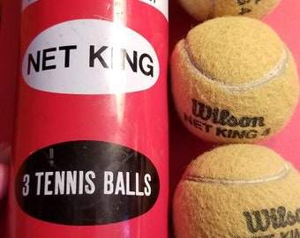 Set of 3 Vintage 1960s Wilson Net King 4 Tennis Balls in original metal can with lid