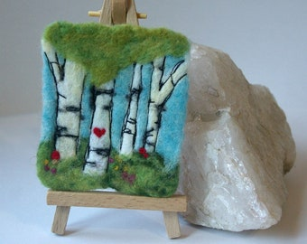 """Forest of Birch Trees Fiber Art: Felted Wool Original Work (3 x 3.75"""", Small Format Woodland Art), Waldorf Needlefelted Picture"""