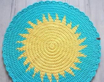 Handmade crochet round rug