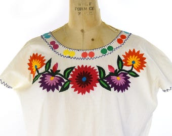 70s Embroidered Mexican Cotton Blouse Vintage 1970s Ethnic Bohemian Top Hippie Boho Peasant Huipil Folk Tunic Shirt M L