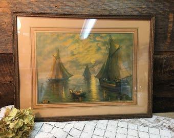 Antique Framed Ship Print/Ocean/Sailing/Under Glass