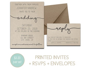 Simple, Cursive Printed Wedding Invitation Suite Front Design Only   Customized Wedding Invites with RSVPs, Details Card, and Envelopes