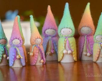 Waldorf Steiner inspired gnomes (3) Peg gnomes-Peg dolls-Waldorf/Steiner toys- Waldorf dolls- felt gnomes -Seasonal table-Debs Steiner Dolls