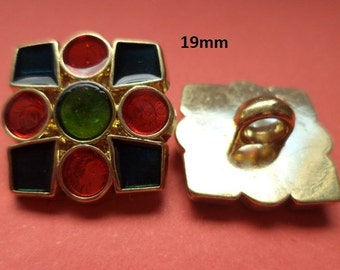 8 buttons Golden colored 19 mm (1482) button