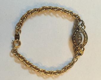 Gold Tone Avon Bracelet with 3 Diamond-like stones, Vintage Avon Bracelet