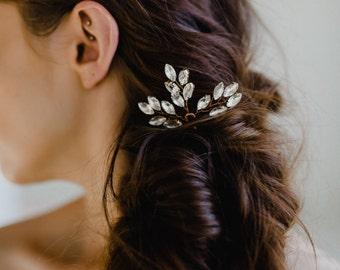 Wedding Hairpin | Rose Gold Hair Pin | Bridal Hair Comb | Crystal Leaf Headpiece | Crystal Hair Clip | Rhinestone Hair Accessories | Nora