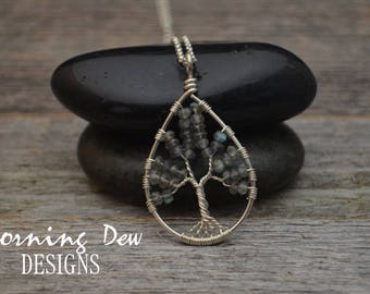 Sterling Silver Tree of Life Necklace with Faceted Labradorite Gemstones
