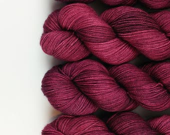 Sarah's Morning - burgundy hand dyed yarn - fingering, sock, DK, worsted weight - 100 grams - dyed to order
