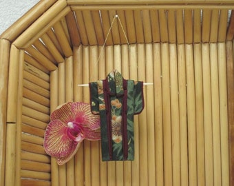 """3"""" Ornament. """"Forest Murmurs, Burgundy."""" Fabric Origami Kimono Ornament: Handmade. Olive Bamboo Plum Blossom Hang it Frame it Give it."""