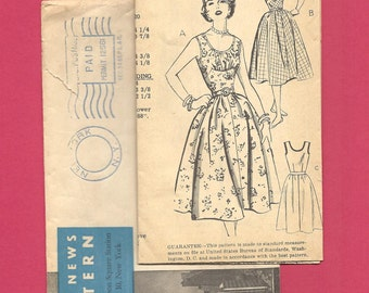1950s DRESS ~ Vintage Mail Order Sewing Pattern ~ Sleeveless or Puff Sleeves ~ New Style 2888 ~ Size 10  ~ Fitted Bodice ~ Full Skirt
