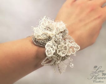 Wedding/bridesmaid corsage bracelet with Rhinestones and lace | wedding | bridesmaid dress bridesmaid gift