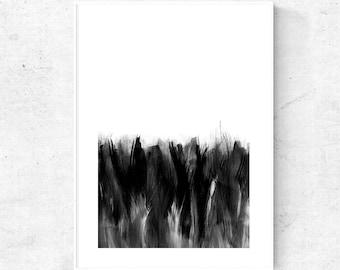 Minimalist black and white abstract painting digital download, modern abstract art prints, printable wall decor, minimal art, 11x17 print