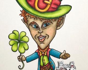 Oddleigh Leprechaun Set - whimsical quirky digi art stamp set of 4 designs!
