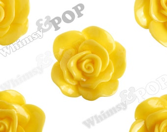 Large Sunny Yellow Rose Cabochons, Flower Cabochons, Rose Flatback, 30mm x 28mm (R3-059)