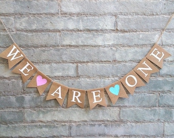 WE ARE ONE Burlap banner - Twins banner, Twins birthday banner, Twins birthday sign, Twins first birthday, Twins photoprop