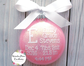 Baby Girl Birth Statistic Ornament; Baby Girl Birth Stats Christmas Ornament; Baby Girl Monogram Personalized Christmas Ornament; Team Pink