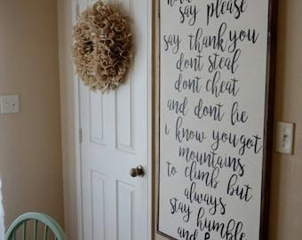 Humble And Kind Sign | Farmhouse Sign | Framed Sign | Wood Sign | Farmhouse Decor | Country Lyrics | Rustic Sign | Farmhouse | Rustic Decor