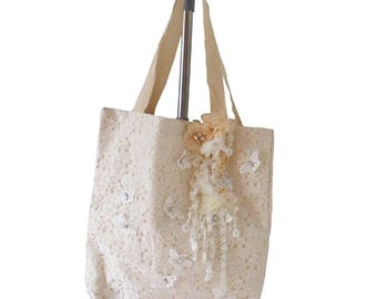 Embroidery Butterfly Lace Tote Bag, Bridal Tote, Bridal Bag, Lace tote, Chic, Butterfly Lace, Cream White Tote, Handmade Butterfly Tote,