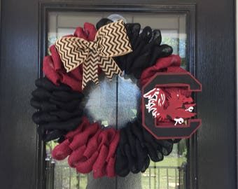 Burlap Wreath burgundy and black  burlap; University of South Carolina wreath, USC wreath ; everyday wreath