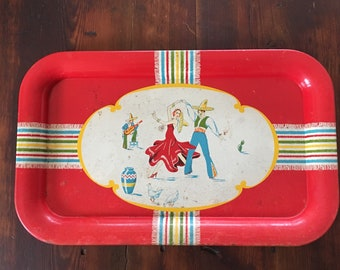 Vintage 1950s Mexican Dancers Metal Serving Tray Platter/ Mexican- Mexico