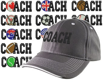 Custom Personalized Coach Embroidery on Adjustable Structured Charcoal Grey Baseball Cap Front Decor Selection + Options for Side and Back